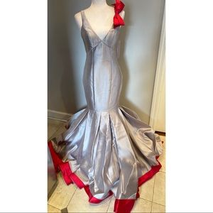 Jovani Gown in Stone Color with Red Bow